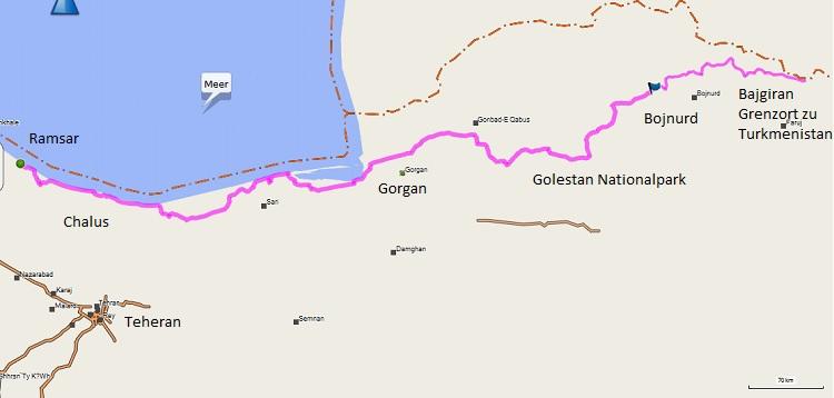 Route Teil 2 Iran: vom Meer nach Turkmenistan.