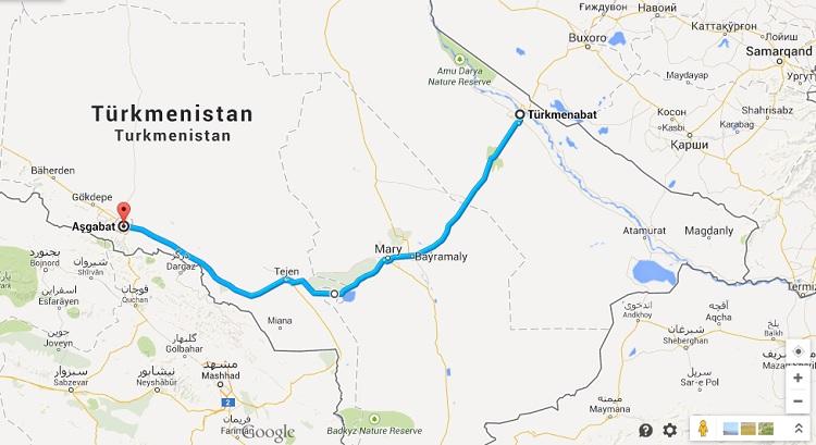 Die Route durch Turkmenistan.