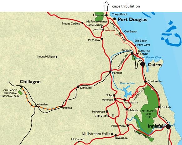 Cairns - Milla Milla Falls - Millstream Falls - Mount Hypipamee National Park mit the crater - fucking Atherton - Cape Tribuation - am Meer zurück nach Cairns