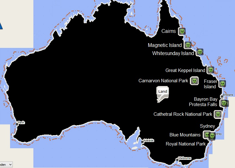 Karte mit Reisezielen Ostküste