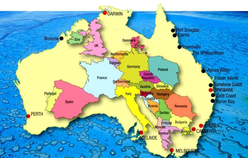 Zum Vergleich. In Australien leben 25 und in Europa 500 Mio. Pappnasen.