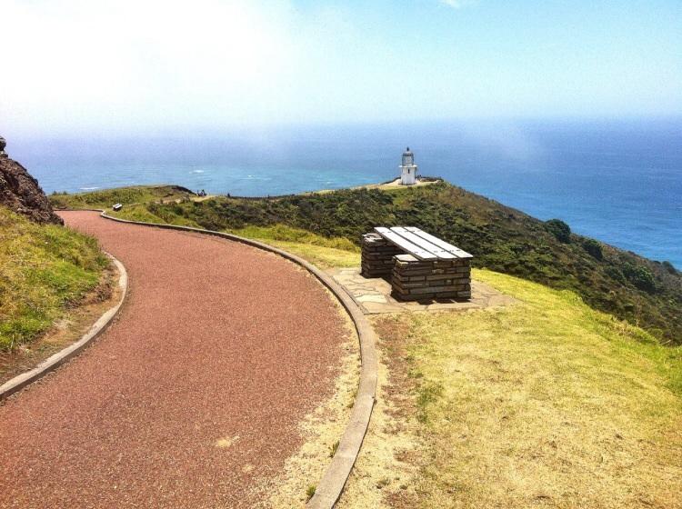 Cape Reinga, Leuchtturm. Am Kap kommt die Tasmansee in der pazifische Ozean zusammen. In diesem Zusammenhang spricht man von der Vereinigung von Mann und Frau.
