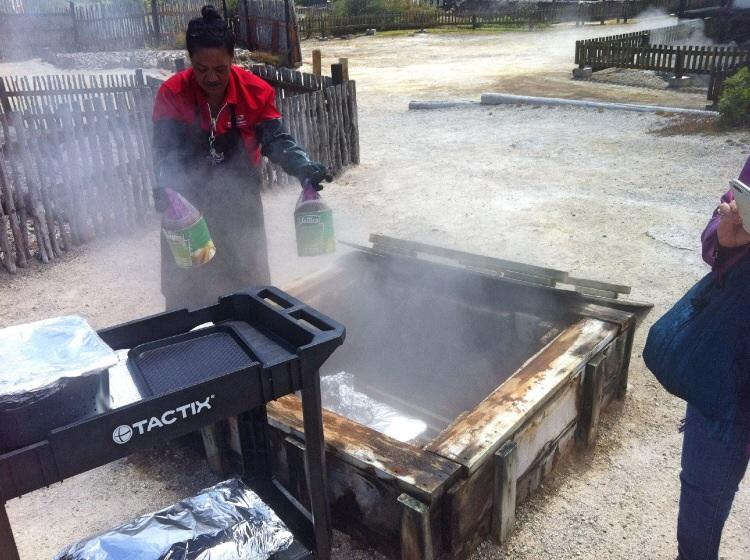 Die Maori kochen mit dem was ihnen die Natur zur Verfügung stellt. In den Boxen das Essen mit Dampf gar gemacht und das geht rucki zucki. Sie kochen alle in Gemeinschaft in den Boxen und es würde noch nie essen gestohlen.